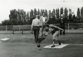Dorothea Lensch lawn bowling in 1949